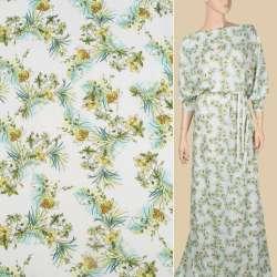 Віскоза біла в жовті, зелені квіти і листя, ш.140