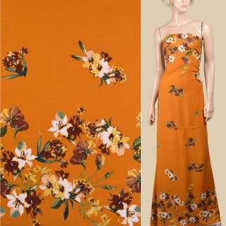 Вискоза коричневая, желтые цветы (купон), ш.140