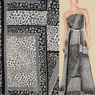 Креп віскозний в чорно-білі квадрати з леопардовим принтом, ш.145