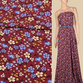 Креп вискозный вишневый, голубые, кремовые цветы, ш.140