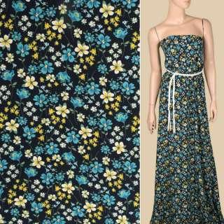 Креп вискозный синий темный, бело-желтые, бирюзовые цветы, ш.140