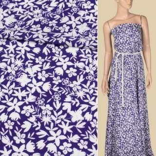 Вискоза фиолетовая в белые цветы, ш.140