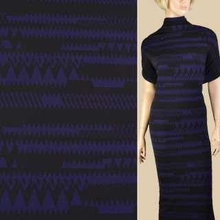 Мікродайвінг креп чорний з синіми зигзагами, ш.150