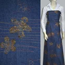 Коттон синий с разноцветной строчкой и коричневыми цветами из сетки