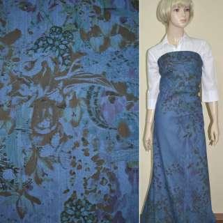 коттон-джинс сине-голубой с рисунком (принт) ш.160