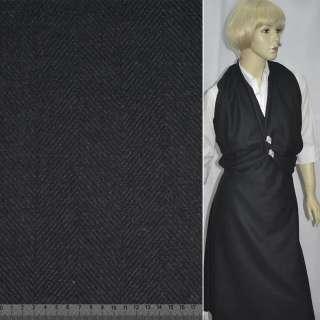 """Ткань пальтовая черная в """"елочку"""" ш.150"""