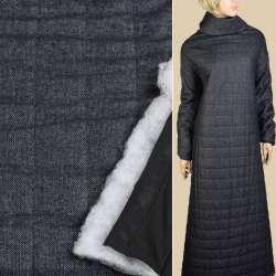 Шерсть твид синий, стеганая синтепоном полоса 5см, подкладка черный трикотаж ш.150