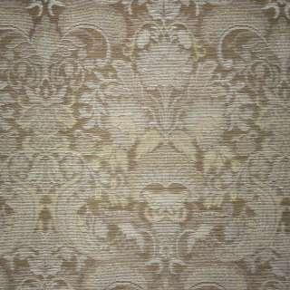 Жаккард світло-коричневий з сріблястими квітами