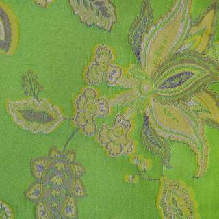 Жаккард салатовий з квітковим малюнком