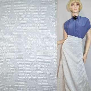 Жаккард костюмний сріблястий з великими квітами і люрексом