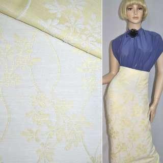 Жаккард костюмний блідо-жовтий з гілочками, листям
