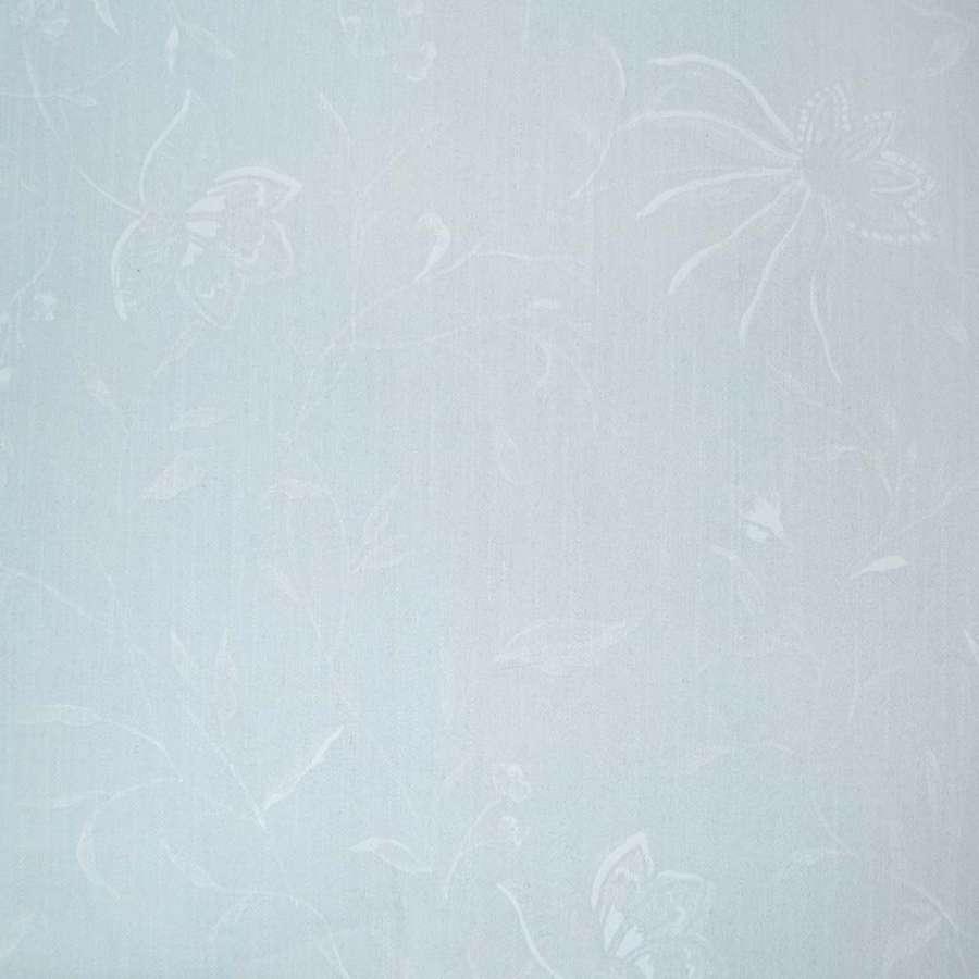 Коттон стрейч бледно-голубой с рисунком жаккард