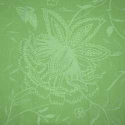 Коттон стрейч салатовый с рисунком жаккард