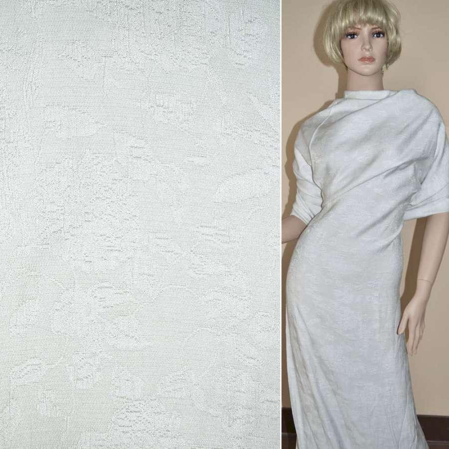 Жаккард костюмный белый с вискозой ш.145
