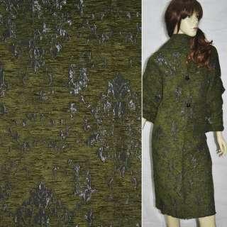 Фукра пальтовая серая с зеленым рис. ш.150