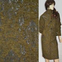 Фукра пальтовая серая с горчичным рисунком ш.140
