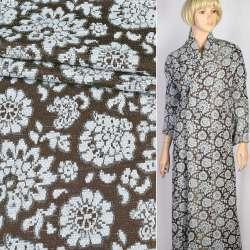 Ткань костюмная коричневая в голубые шенилловые цветы, ш.150
