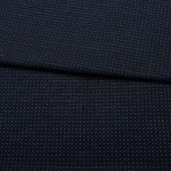 Жаккард стрейч чорний в синю точку з метанітью ш.153