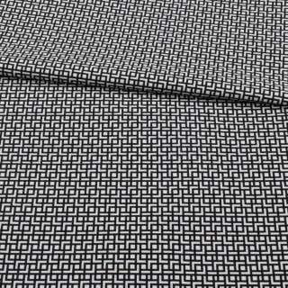 Жаккард стрейч чорно-білий, геометричний візерунок, ш.155