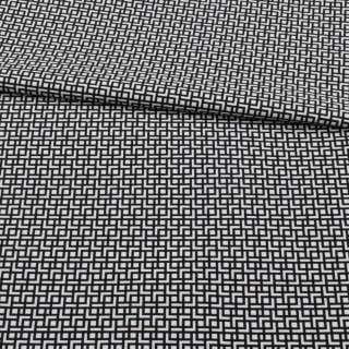 Жаккард стрейч черно-белый, геометрический узор, ш.155
