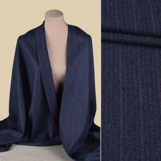 Шерсть костюмная GUABELLO с кашемиром синяя в голубую, сиреневую полоску, ш.153