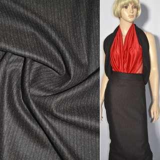 Кашемир костюмный коричневый темный в молочную полоску ш.150