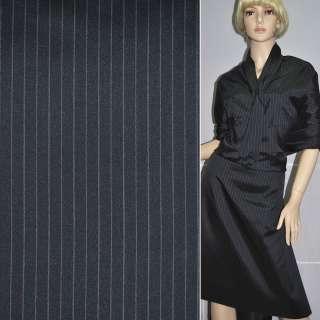 Шовк костюмний темно-синій в смужку ш.140