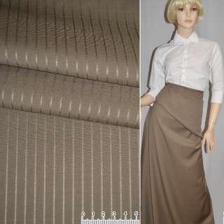 Шерсть костюмная с шелком в полоску коричневая светлая, ш.156