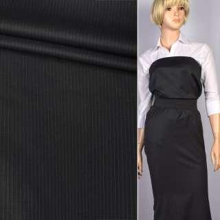 Шерсть костюмная с шелком в полоску тонкую серую (4мм) черная, ш.154
