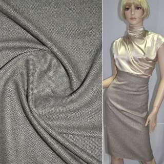 Ткань костюмная светло-серая с молочными стежками