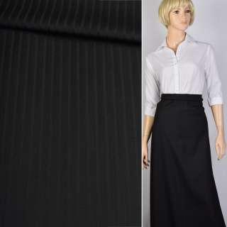 Полушерсть костюмная с шелком стрейч в полоску черная, ш.156