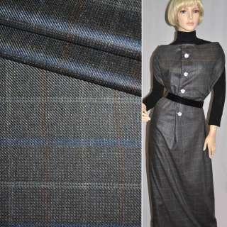 Тканина костюмна сіра в синю клітку CERRUTI італія ш.154
