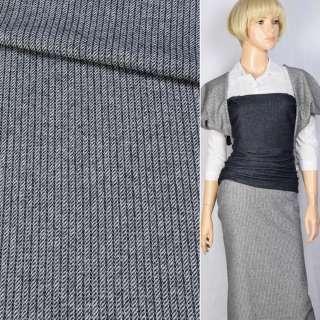 Полушерсть костюмная с шелком в полосы жаккардовые белые синяя темная в белые BECKER, ш.152