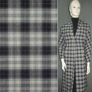 Шерсть костюмная светло-серая в черно-серую клетку ш.155