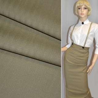 Ткань костюмная стрейч шоколадная в полоску Германия ш.155