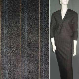 Шерсть костюмная коричневая в узкую оранжевую полоску ш.155