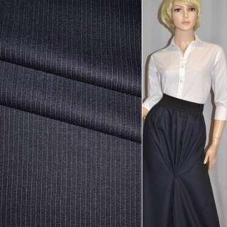 Ткань костюмная стрейч темно-синяя в узкую белую полоску Германия ш.154