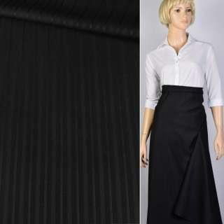 Ткань костюмная черная в полоску Германия ш.157