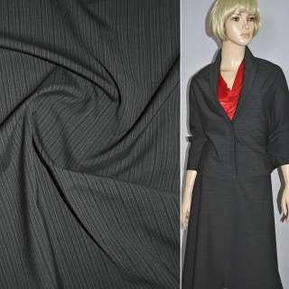 Ткань костюмная темно-серая в черную полоску, ш.150