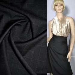 Тканина костюмна чорна в квадрати, ш.155