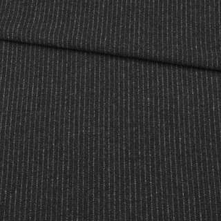 Шерсть с кашемиром черная в тонкую серую полоску, ш.155