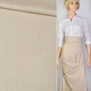 Ткань костюм. песочная в полоску Германия ш.156