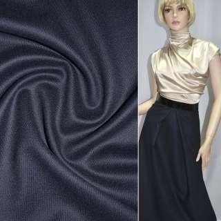 Тканина костюмна темно-синя дрібна діагональ, ш.140