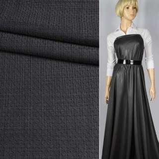"""Шерсть костюмна """"CERRUTI"""" полірування темно-сіра в рисочки ш.150"""