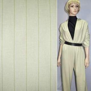 Ткань костюмная оливковая в широкую полоску, ш.150