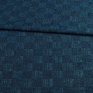 Шерсть костюмная в синюю и бирюзовую шахматку ш.150
