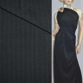 Тканина костюмна чорна в вузькі синьо-білі смужки, ш.150