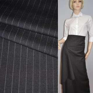 Тканина костюмна чорна в вузькі молочні смужки Німеччина ш.150