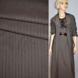 Тканина костюмна коричнево-сіро-смугаста Німеччина ш.155