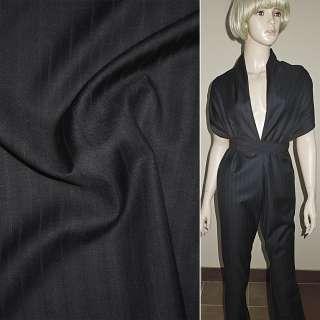 Шерсть костюмна чорна в вузькі смужки ш.154